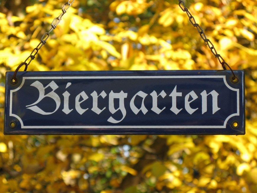 German Beer - Photo of German Biergarten Sign