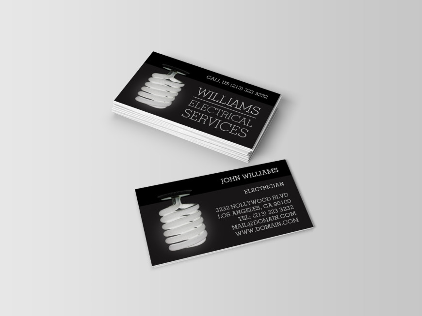 Business Cards for electricians offering electrical services. Design and template created by J32 Design