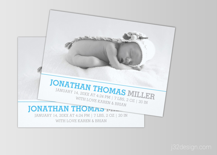 Elegant Baby Birth Announcement Photo Cards J32 DESIGN – Birth Announcement Card