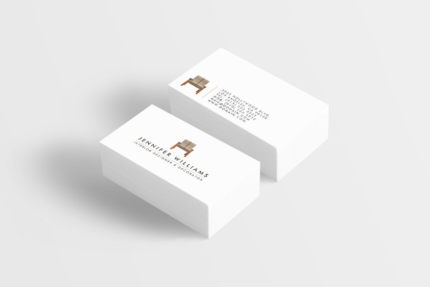 Elegant business cards for interior designers and interior decorators