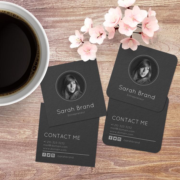 Minimalist Dark Personal Photo Business Cards
