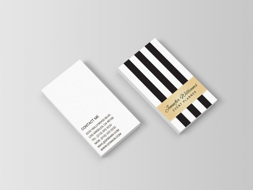 Trendy Black and White Stripes Faux Gold Business Cards - J32 DESIGN
