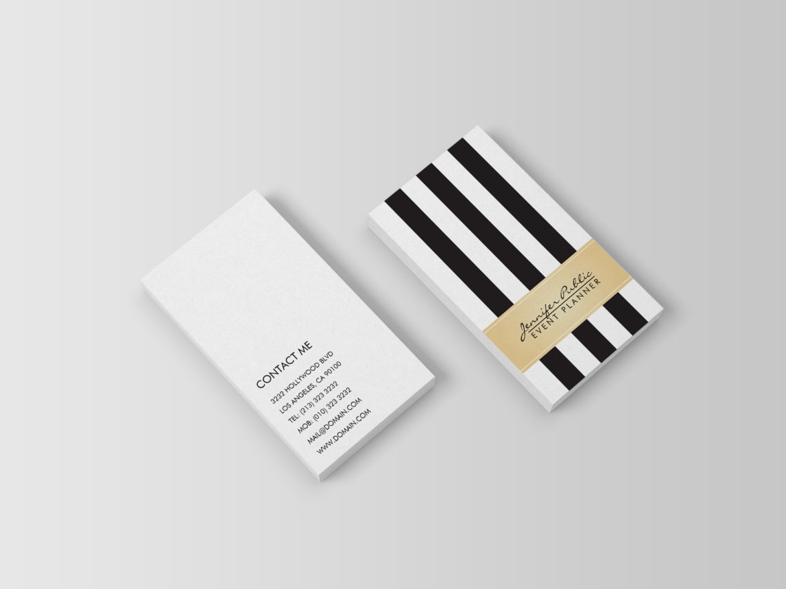 Event Planner Black and White Stripes with Faux Gold Business Card | Trendy and Chic Business Cards at J32Design.com