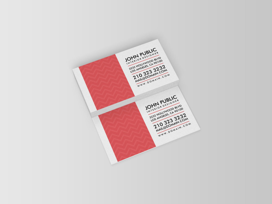 Interior Designer Red Chevron Pattern Business Cards J32 Design