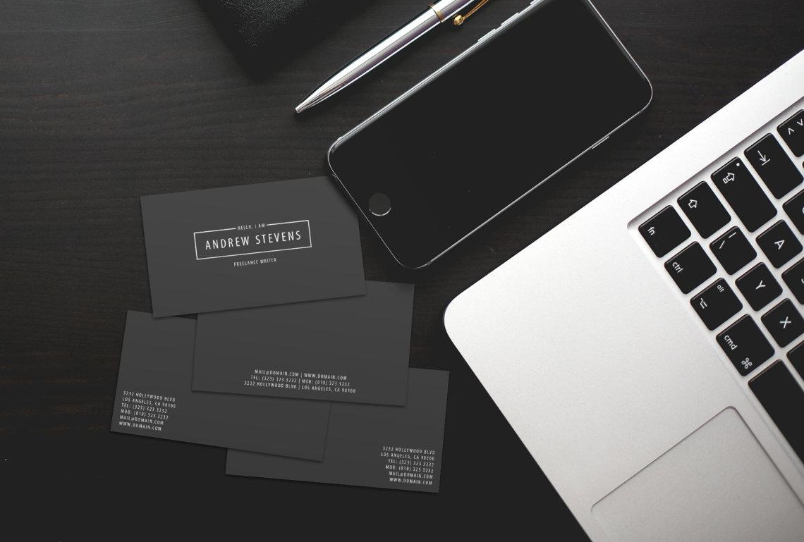 minimal dark business cards j32 design
