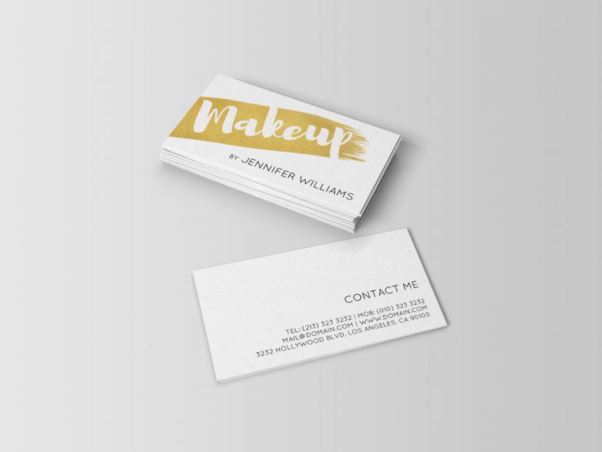 Brushed Faux Gold Makeup Artist Business Card - J32 DESIGN