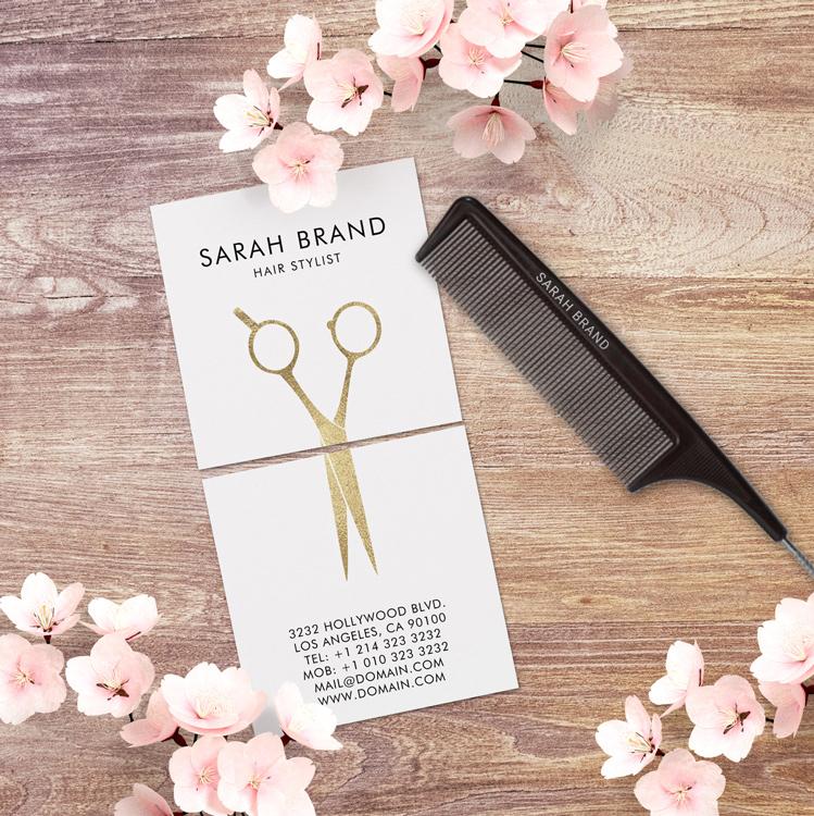 Faux Gold Foil Scissors Hairdresser Square Business Card