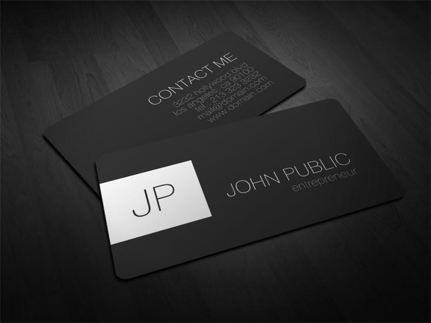 Modern Elegant Rounded Corner Monogram Business Cards