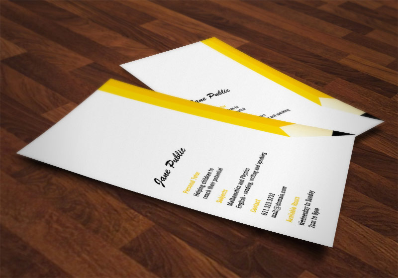 Business Card for a Tutor or Teacher showing a unique and modern pencil design.