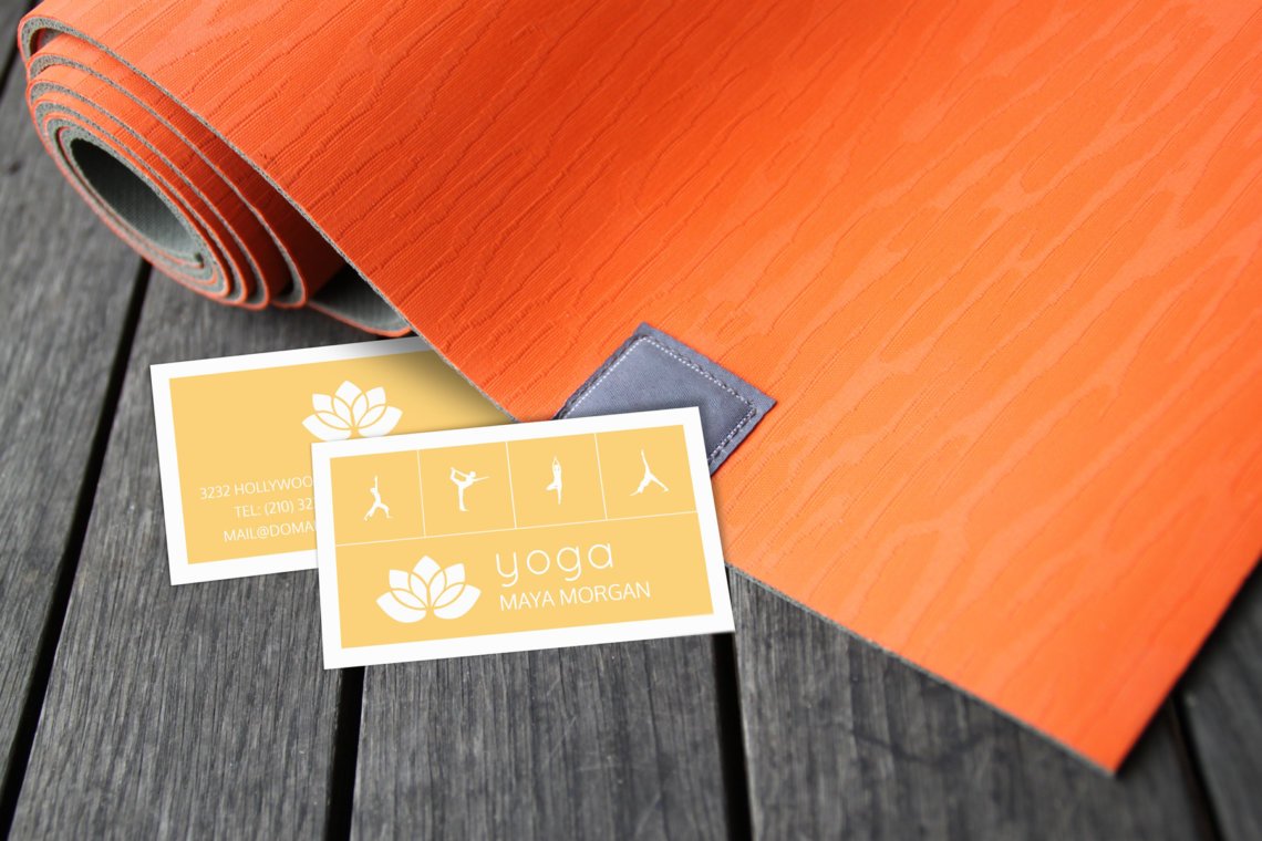 Modern White Lotus Yoga Business Card - J32 DESIGN