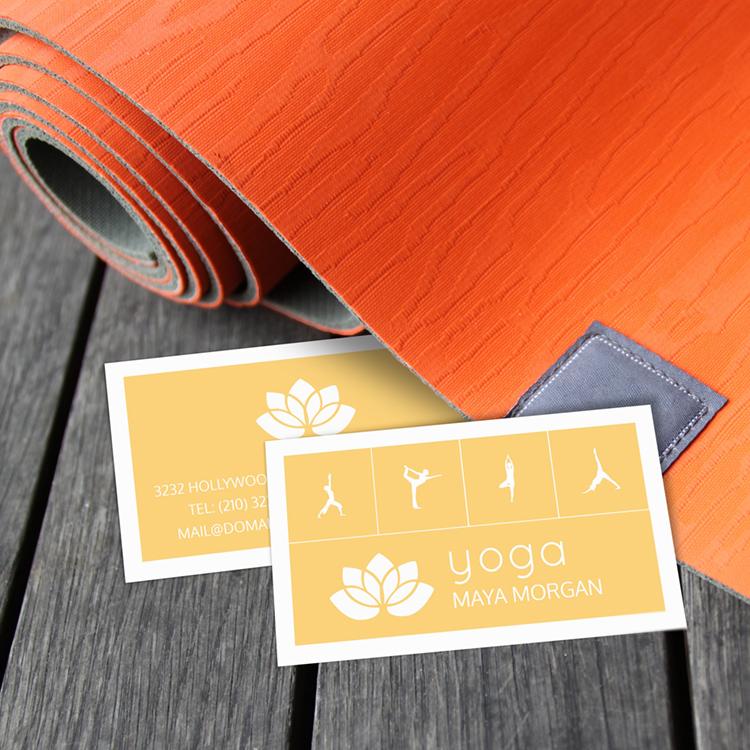 Modern White Lotus Yoga Business Card