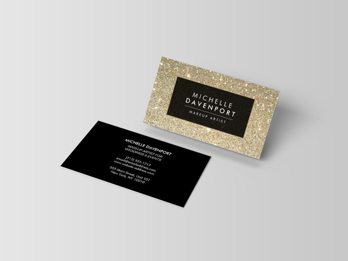 15 trendy and chic business cards that will get your customers classic gold glitter makeup artist business card by 1201am design studio colourmoves