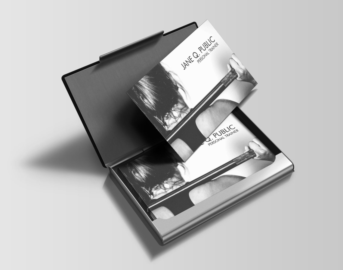 Black And White Personal Trainer Business Cards