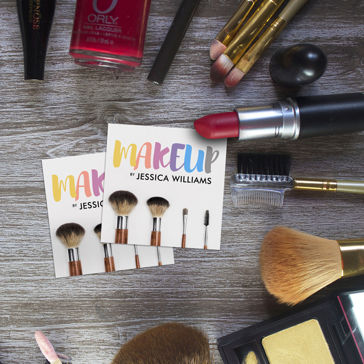 Colorful Square Makeup Artist Business Cards