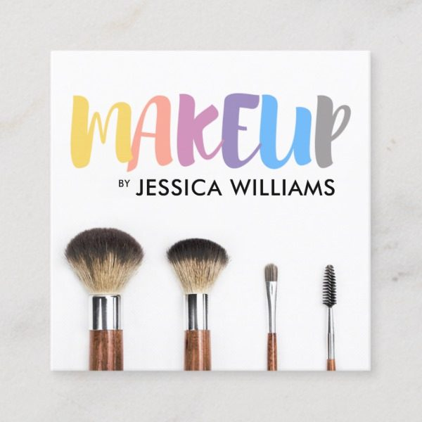 Colorful Makeup Artist Square Business Card J32 Design