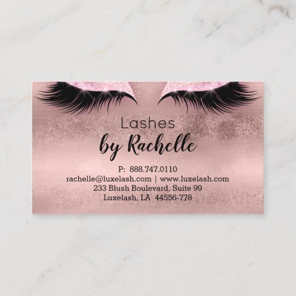 lashes lash business card eyelash rose gold