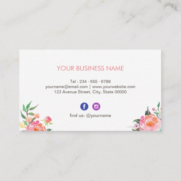 Modern Watercolor Fl Facebook Instagram Icon Business Card