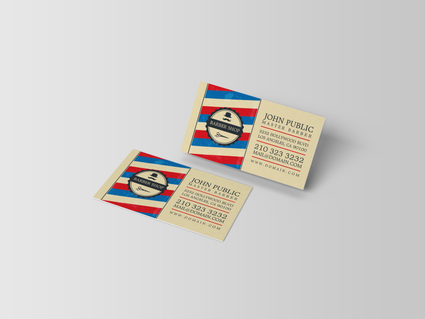 Barber shop business cards j32 design image of barber shop business cards with barber pole colors red blue and white colourmoves